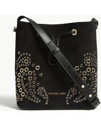 MICHAEL Michael Kors - Cary Grommeted Suede Bucket Bag - Lyst
