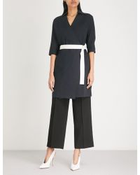 Mo&co. - Wrap-front Stretch-cotton Dress - Lyst