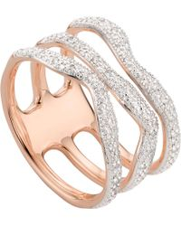 Monica Vinader | Riva Wave Rose-gold Vermeil Pavé Diamond Triple Ring | Lyst