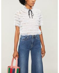 Sandro - High-neck Silk-lace Top - Lyst