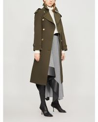 Burberry - Protective Womens Dark Military Khaki Green Check The Heritage Long Westminster Cotton Trench Coat - Lyst
