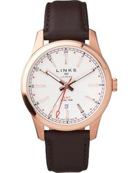 Links of London - Greenwich Gmt Mens Brown Leather Watch - Lyst