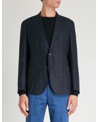 Eleventy - Prince Of Wales Check Wool Jacket - Lyst