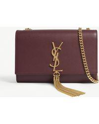 Saint Laurent - Burgundy And Gold Embossed Kate Chain Tassel Leather Cross Body Bag - Lyst