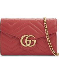 Gucci - Ladies Red Timeless Marmont Leather Cross-body Bag - Lyst