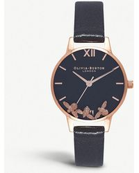 Olivia Burton - Ob16ch06 Busy Bees Rose Gold-plated And Leather Watch - Lyst