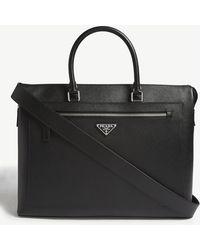 Prada - Logo Saffiano Leather Briefcase - Lyst