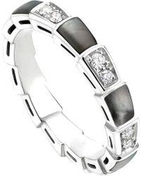 bvlgari serpenti 18kt whitegold and diamond ring lyst