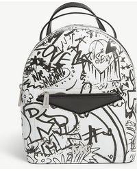 MICHAEL Michael Kors - Michael Kors Optic White Graffiti Print Jessa Small Leather Cross Body Backpack - Lyst