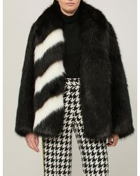 Off-White c/o Virgil Abloh - Striped Faux-fur Coat - Lyst