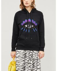 560590ab21 KENZO - Evil Eye-embroidered Cotton-jersey Hoody - Lyst