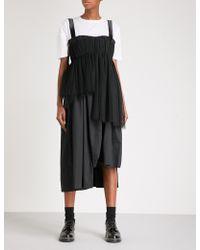 Phoebe English - Asymmetric Mesh And Cotton-blend Dress - Lyst