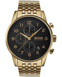 BOSS - 1513531 Navigator Pvd Gold-plated Chronograph Watch - Lyst