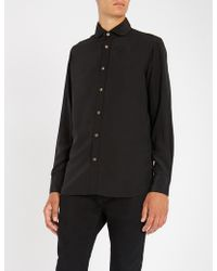 Maximilian Robinson - Black Palm Embroidered-palm Trees Regular-fit Silk Shirt - Lyst