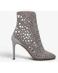 Alaïa - Laser-cut Suede Heeled Boots - Lyst