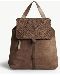 Eleventy - Braided Flap Suede Backpack - Lyst