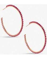 Kendra Scott - Birdie 14ct Rose Gold-plated Brass And Maroon Jade Hoop Earrings - Lyst