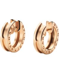 BVLGARI - B.zero1 18kt Pink-gold Hoop Earrings - Lyst