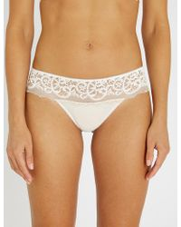63b70d4b57 Wacoal - Floral Lace-embroidered Mesh Tanga Briefs - Lyst