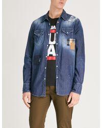 DSquared² - Splatter-print Regular-fit Denim Shirt - Lyst