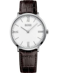 BOSS - Hugo Jackson Brown Leather Watch - Lyst