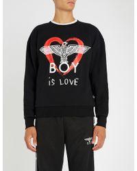 BOY London - Boy Is Love Cotton-jersey Sweatshirt - Lyst 5fb22d4ba515