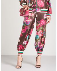 Gucci - Floral-print Relaxed-fit Silk-twill Trousers - Lyst