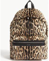 Saint Laurent - Black And Brown Leopard-print Faux Fur Canvas Backpack - Lyst