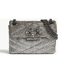 Kurt Geiger - Silver Geometric Mini Mayfair Metallic Tweed Shoulder Bag - Lyst