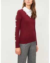 Huishan Zhang - Faux-pearl And Crystal-embellished Wool Top - Lyst