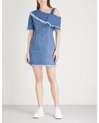 SJYP - Asymmetric-neck Denim Mini Dress - Lyst