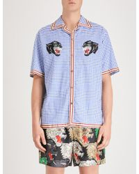 Gucci - Panther-embroidered Relaxed-fit Cotton Bowling Shirt - Lyst