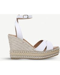 Kurt Geiger - Amelia Leather Wedge Sandals - Lyst