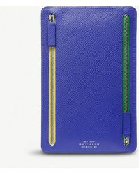 Smythson - Blue Panama Zipped Leather Currency Case - Lyst