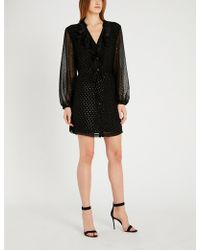 PAIGE - Isabelle Metallic Dot-embroidered Chiffon Dress - Lyst