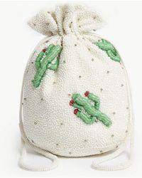 Ganni - Floral Sequin Drawstring Purse - Lyst