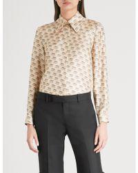 b1e11ada3b32 Lyst - Gucci Invite Stamp Silk Shirt - Save 33%