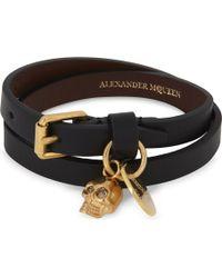Alexander McQueen - Skull Double-wrap Leather Bracelet - Lyst