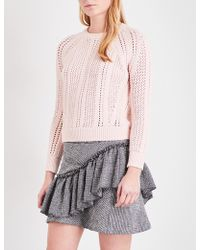 Maje | Openwork Chunky-knit Cotton-blend Jumper | Lyst