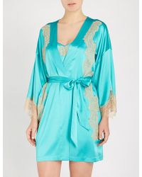 Nk Imode - Skyler So Chic Silk-blend Satin And Lace Robe - Lyst