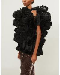 Noir Kei Ninomiya - Fan-appliquéd Tulle And Faux-fur Jacket - Lyst