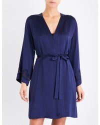 Nk Imode - Morgan Iconic Silk-satin And Lace Robe - Lyst