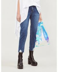 SJYP - Ripped Cropped High-rise Jeans - Lyst