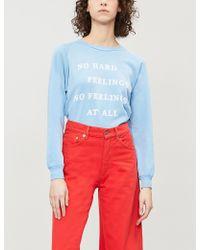 Wildfox - Ladies Pigment Blue Wonderland No Feelings At All Slogan-print Jersey Sweatshirt - Lyst