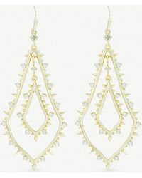 Kendra Scott - Alice 14ct Gold-plated And Cubic Zirconia Earrings - Lyst