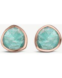Monica Vinader - Siren 18ct Rose-gold Vermeil And Amazonite Stud Earrings - Lyst