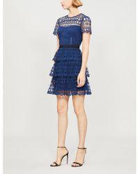 b03223b231b1 Self-Portrait - Tiered Guipure Lace Mini Dress - Lyst
