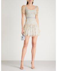Self-Portrait - Embroidered Mesh Mini Dress - Lyst