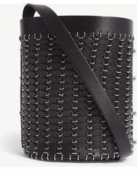 Paco Rabanne - Black Open Design Leather Bucket Bag - Lyst