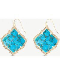Kendra Scott - Kirsten 14ct Gold-plated And Bronze Veined Turquoise Magnesite Stone Drop Earrings - Lyst